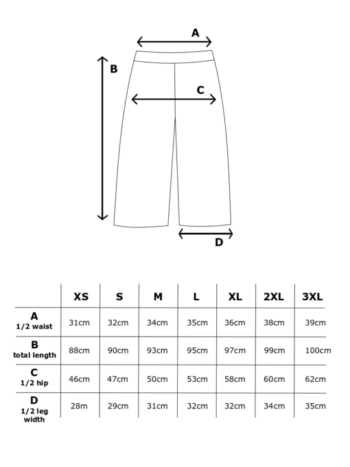 Mittataulukko Luotto culottes housut