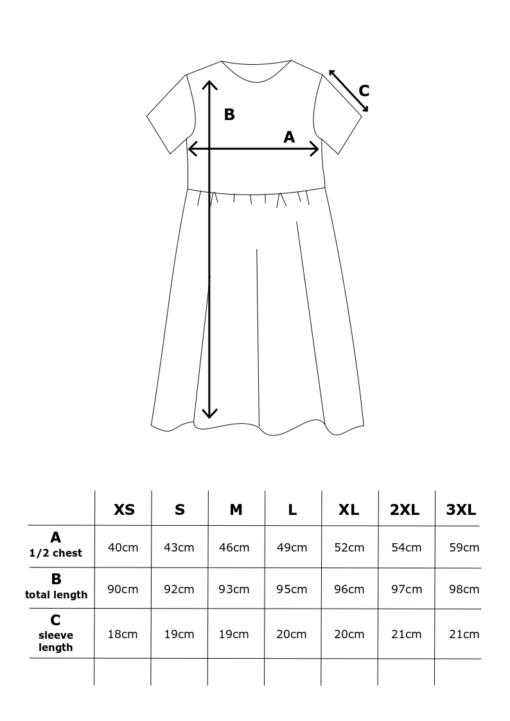 Lilja mekko mittataulukko